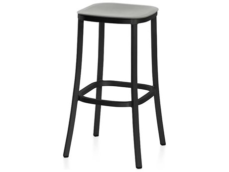 Emeco Outdoor 1 Inch By Jasper Morrison Aluminum Dark 30'' High Barstool with Light Grey Seat PatioLiving