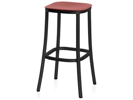 Emeco Outdoor 1 Inch By Jasper Morrison Aluminum Dark 30'' High Barstool with Orange Seat PatioLiving