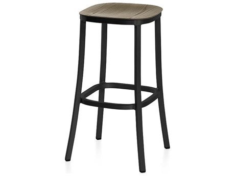 Emeco Outdoor 1 Inch By Jasper Morrison Aluminum Dark 30'' High Barstool with Walnut Wood Seat PatioLiving