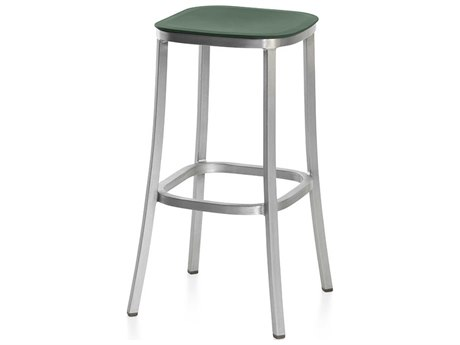 Emeco Outdoor 1 Inch By Jasper Morrison Aluminum 30'' High Barstool with Green Seat PatioLiving