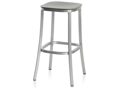Emeco Outdoor 1 Inch By Jasper Morrison Aluminum 30'' High Barstool with Light Grey Seat PatioLiving