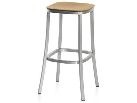 Emeco Outdoor 1 Inch By Jasper Morrison Aluminum 30'' High Barstool with Sand Seat PatioLiving