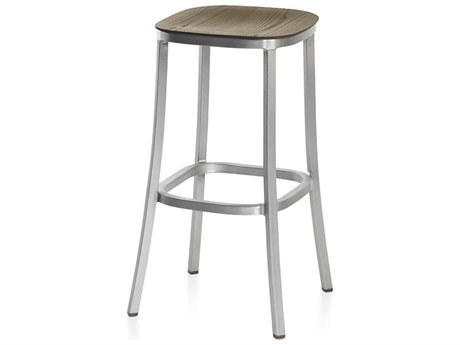 Emeco Outdoor 1 Inch By Jasper Morrison Aluminum 30'' High Barstool with Walnut Wood Seat PatioLiving