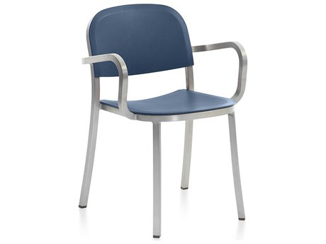 Emeco Outdoor 1 Inch By Jasper Morrison Aluminum Dining Arm Chair with Blue Seat and Back PatioLiving