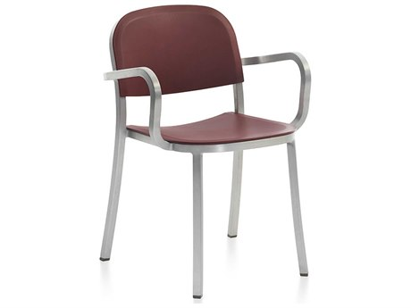 Emeco Outdoor 1 Inch By Jasper Morrison Aluminum Dining Arm Chair with Bordeaux Seat and Back PatioLiving
