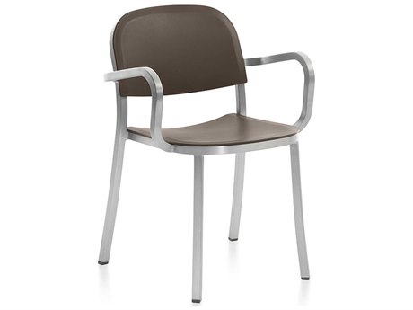 Emeco Outdoor 1 Inch By Jasper Morrison Aluminum Dining Arm Chair with Brown Seat and Back PatioLiving