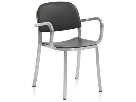 Emeco Outdoor 1 Inch By Jasper Morrison Aluminum Dining Arm Chair with Dark Grey Seat and Back PatioLiving