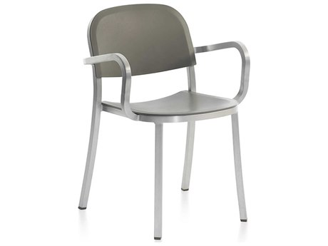 Emeco Outdoor 1 Inch By Jasper Morrison Aluminum Dining Arm Chair with Light Grey Seat and Back PatioLiving