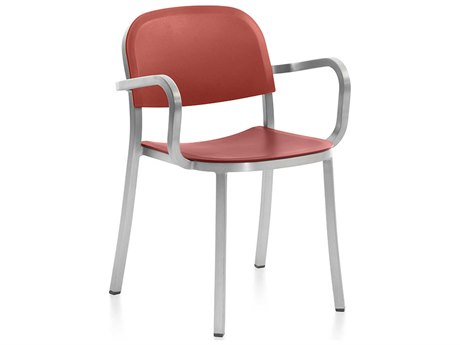 Emeco Outdoor 1 Inch By Jasper Morrison Aluminum Dining Arm Chair with Orange Seat and Back PatioLiving