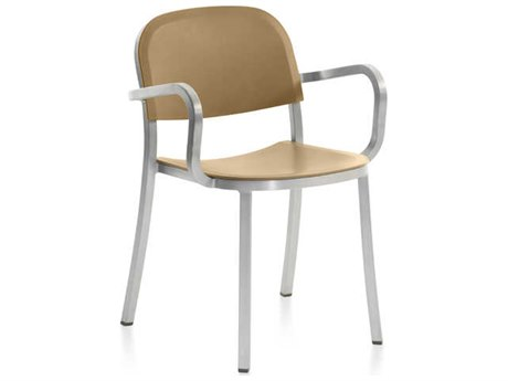 Emeco Outdoor 1 Inch By Jasper Morrison Aluminum Dining Arm Chair with Sand Seat and Back PatioLiving