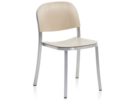 Emeco Outdoor 1 Inch By Jasper Morrison Aluminum Stackable Dining Side Chair with Ash Wood Seat PatioLiving