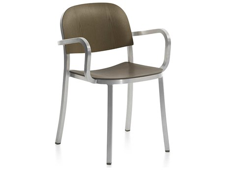 Emeco Outdoor 1 Inch By Jasper Morrison Aluminum Dining Arm Chair with Walnut Wood Seat and Back PatioLiving