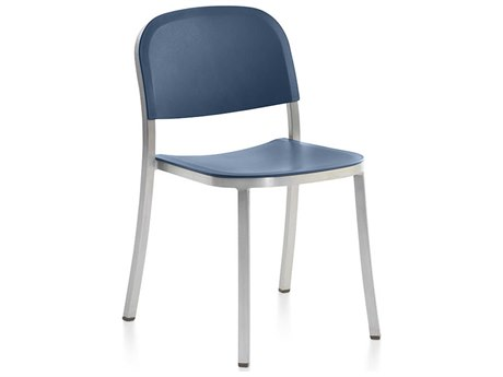 Emeco Outdoor 1 Inch By Jasper Morrison Aluminum Stackable Dining Side Chair with Blue Seat and Back PatioLiving