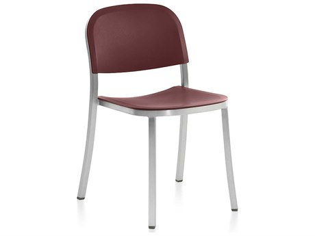Emeco Outdoor 1 Inch By Jasper Morrison Aluminum Stackable Dining Side Chair with Bordeaux Seat and Chair PatioLiving