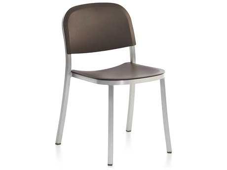 Emeco Outdoor 1 Inch By Jasper Morrison Aluminum Stackable Dining Side Chair with Brown Seat and Chair PatioLiving