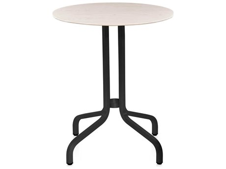 Emeco Outdoor 1 Inch By Jasper Morrison Aluminum Dark 24'' Wide Round Laminate plywood Top Bistro Table PatioLiving