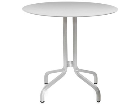 Emeco Outdoor 1 Inch By Jasper Morrison Aluminum 30'' Wide Round Laminate plywood Top Bistro Table PatioLiving