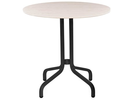 Emeco Outdoor 1 Inch By Jasper Morrison Aluminum Dark 30'' Wide Round Laminate plywood Top Bistro Table PatioLiving