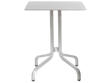 Emeco Outdoor 1 Inch By Jasper Morrison Aluminum 24'' Wide Square Laminate plywood Top Bistro Table