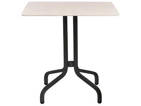 Emeco Outdoor 1 Inch By Jasper Morrison Aluminum Dark 30'' Wide Square  Laminate plywood Top Bistro Table