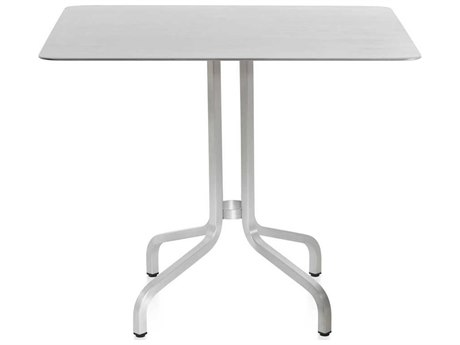 Emeco Outdoor 1 Inch By Jasper Morrison Aluminum 36''Wide Square Laminate plywood Top Dining Table
