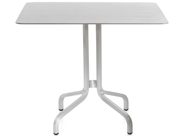 Emeco Outdoor 1 Inch By Jasper Morrison Aluminum 36 Wide Square Laminate Plywood Top Dining Table Emo1inchctsq36