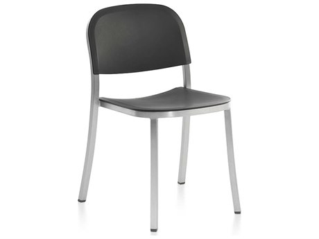 Emeco Outdoor 1 Inch By Jasper Morrison Aluminum Stackable Dining Arm Chair with Dark Grey Seat and Black PatioLiving