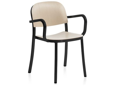 Emeco Outdoor 1 Inch By Jasper Morrison Aluminum Dark Dining Arm Chair with Ash Wood Seat and Back PatioLiving