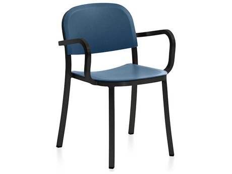 Emeco Outdoor 1 Inch By Jasper Morrison Aluminum Dark Dining Arm Chair with Blue Seat and Back PatioLiving