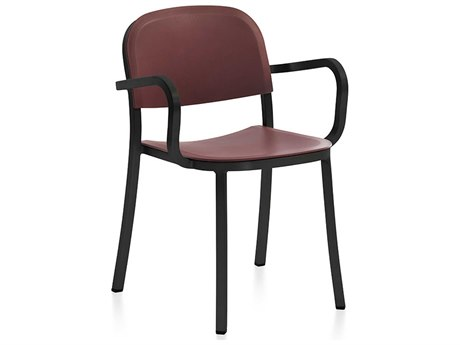 Emeco Outdoor 1 Inch By Jasper Morrison Aluminum Dark Dining Arm Chair with Bordeaux Seat and Back PatioLiving