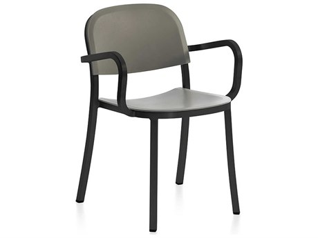 Emeco Outdoor 1 Inch By Jasper Morrison Aluminum Dark Dining Arm Chair with Light Grey Seat and Back PatioLiving