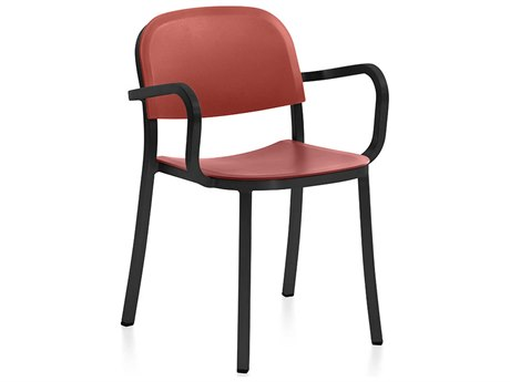 Emeco Outdoor 1 Inch By Jasper Morrison Aluminum Dark Dining Arm Chair with Orange Seat and Back PatioLiving