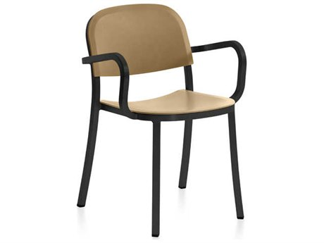 Emeco Outdoor 1 Inch By Jasper Morrison Aluminum Dark Dining Arm Chair with Sand Seat and Back PatioLiving