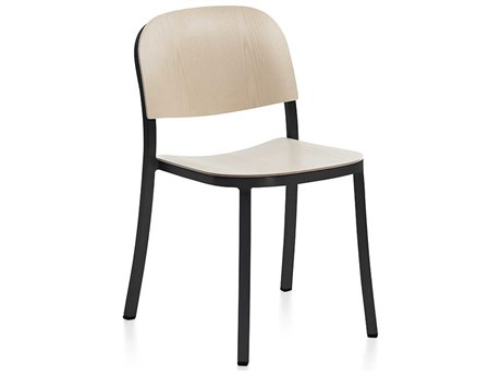 Emeco Outdoor 1 Inch By Jasper Morrison Aluminum Dark Stackable Dining Side Chair with Ash Wood Seat PatioLiving