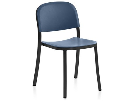 Emeco Outdoor 1 Inch By Jasper Morrison Aluminum Dark Stackable Dining Side Chair with Blue Seat and Back PatioLiving