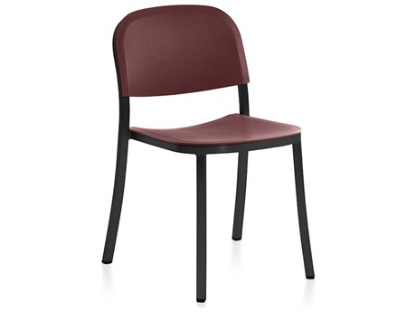 Emeco Outdoor 1 Inch By Jasper Morrison Aluminum Dark Dining Side Chair with Bordeaux Seat and Back PatioLiving