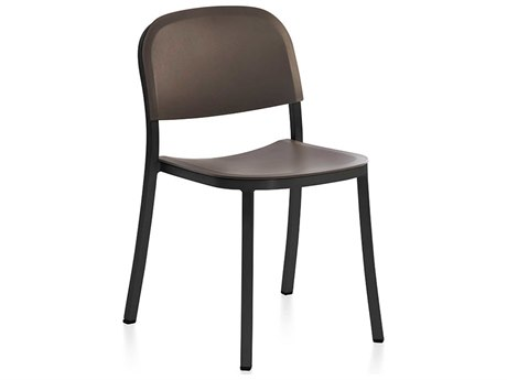 Emeco Outdoor 1 Inch By Jasper Morrison Aluminum Dark Stackable Dining Side Chair with Brown Seat and Back PatioLiving