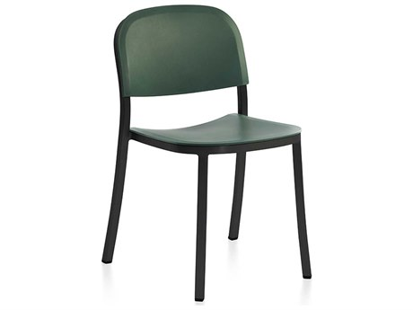 Emeco Outdoor 1 Inch By Jasper Morrison Aluminum Dark Stackable Dining Side Chair with Green Seat and Back PatioLiving