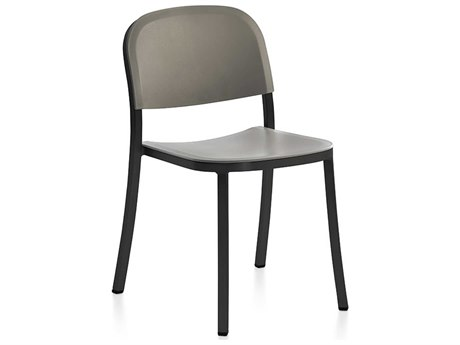 Emeco Outdoor 1 Inch By Jasper Morrison Aluminum Dark Stackable Dining Side Chair with Light Grey Seat and Back PatioLiving
