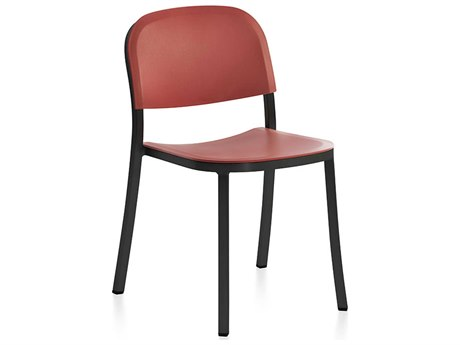 Emeco Outdoor 1 Inch By Jasper Morrison Aluminum Dark Stackable Dining Side Chair with Orange Seat and Back PatioLiving