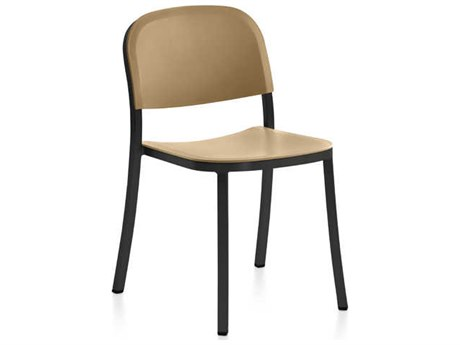 Emeco Outdoor 1 Inch By Jasper Morrison Aluminum Dark Stackable Dining Side Chair with Sand Seat and Back PatioLiving
