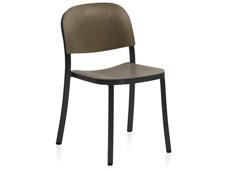 Emeco Outdoor 1 Inch By Jasper Morrison Aluminum Dark Stackable Dining Side Chair with Walnut Wood Seat  PatioLiving