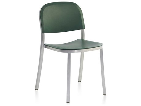 Emeco Outdoor 1 Inch By Jasper Morrison Aluminum Stackable Dining Side Chair with Green Seat and Back PatioLiving
