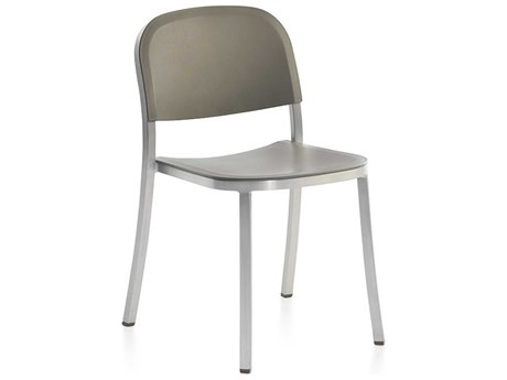 Emeco Outdoor 1 Inch By Jasper Morrison Aluminum Stackable Dining Side Chair with Light Grey Seat and Back PatioLiving