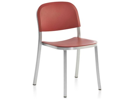 Emeco Outdoor 1 Inch By Jasper Morrison Aluminum Stackable Dining Side Chair with Orange Seat and Back PatioLiving