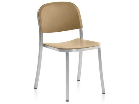 Emeco Outdoor 1 Inch By Jasper Morrison Aluminum Stackable Dining Side Chair with Sand Seat and Back PatioLiving