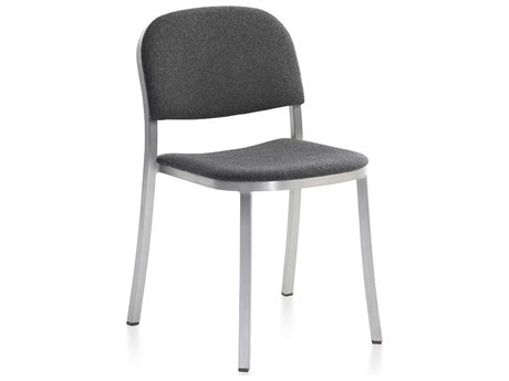 Emeco Outdoor 1 Inch By Jasper Morrison Aluminum Stackable Dining Side Chair with Upholstered Seat and Back