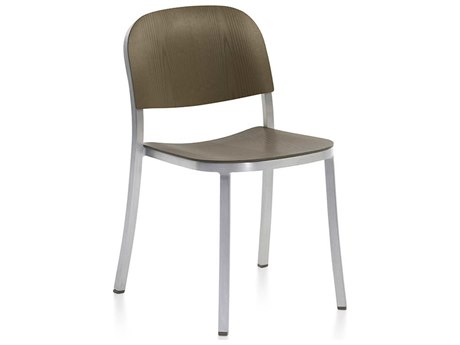 Emeco Outdoor 1 Inch By Jasper Morrison Aluminum Stackable Dining Side Chair with Walnut Wood Seat PatioLiving
