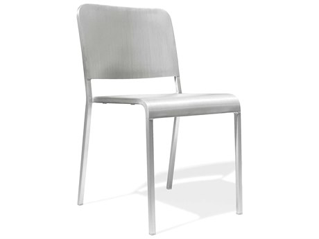 Emeco Outdoor Norman Foster Brushed Aluminum Stackable Dining Side Chair