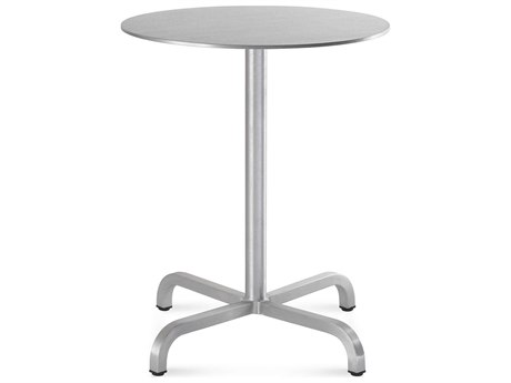 Emeco Outdoor Norman Foster Brushed Aluminum 24'' Wide Round Bistro Table PatioLiving